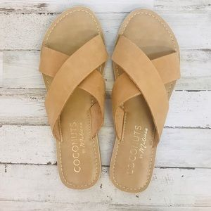 Tan leather strap sandals